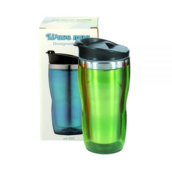 כוס תרמית מפלסטיק ירוקה