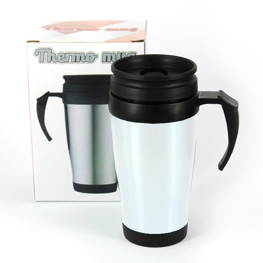 כוס תרמית עם ידית - לבן