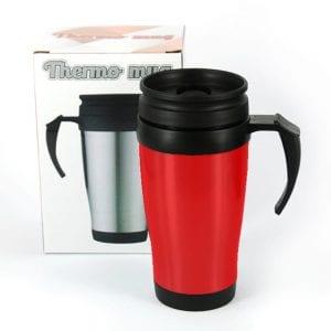 כוס תרמית עם ידית - אדום