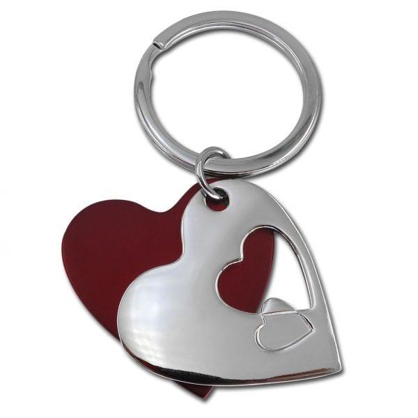 מחזיק מפתחות לב ממתכת ופלסטיק