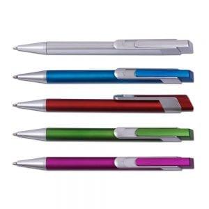 עט כדורי פלסטיק דגם ברקודה עם תופסן מעוצב