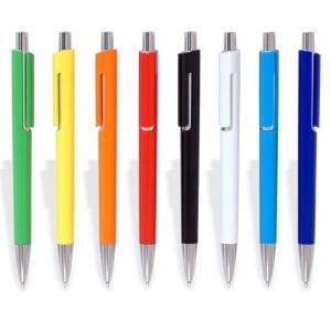 עט כדורי דגם וויסקי צבעוני עם קליקר מתכת ותופסן