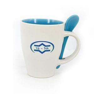 כוס קרמית ממותגת עם כפית