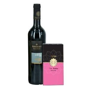 מארז יין אדום ושוקולד טעימה