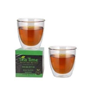 כוסות דופן כחולה לתה